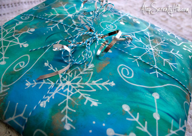 Handmade snowflake wrapping paper with baker's twine • AtopSerenityHill