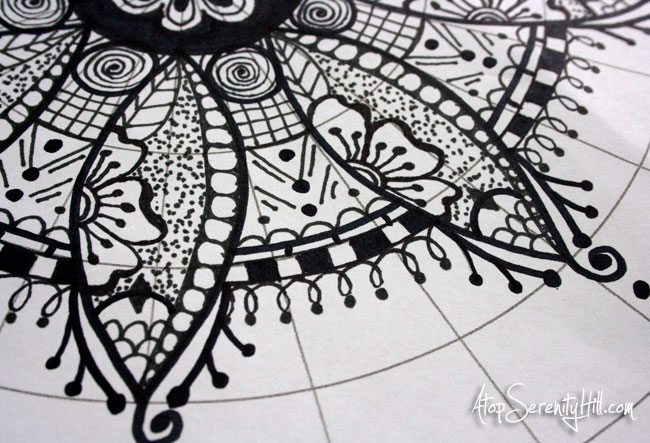 Black marker mandala on polar graph paper • AtopSerenityHill.com #doodling #mandala