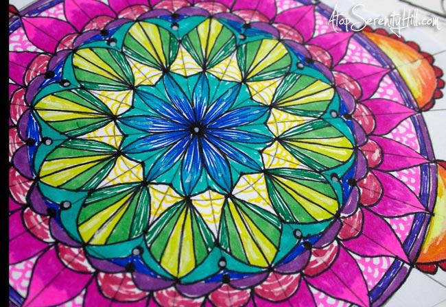 Colored marker mandala • AtopSerenityHill.com #doodling #mandala