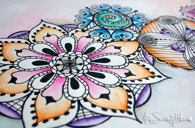 Collection of mandalas done with black marker and watercolor pencils • AtopSerenityHill.com #doodling #watercolor