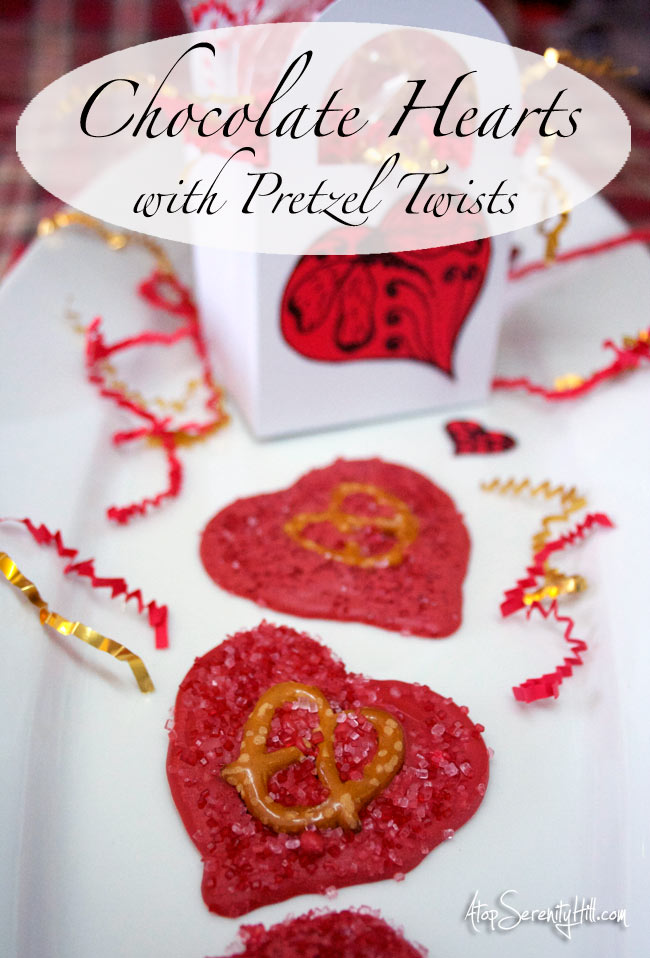 Chocolate hearts w/pretzel twists...a sweet and salty Valentine! • AtopSerenityHill.com #valentinesday #dessert #chocolate