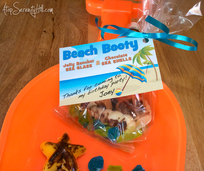 Edible seaglass and seashell beach booty party favors • AtopSerenityHill.com