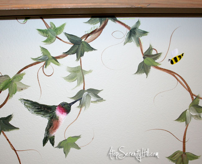 Easily add mural elements to extend a framed painting • AtopSerenityHill.com #hummingbird