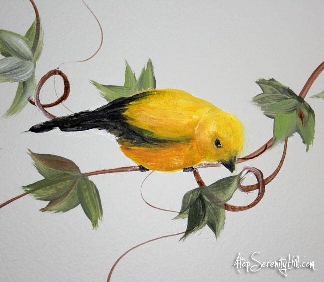 Easily add mural elements to extend a framed painting • AtopSerenityHill.com #goldfinch