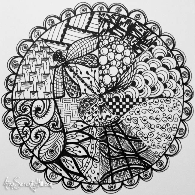 Black and white mandala created with black Sharpie markers • AtopSerenityHill.com