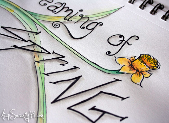 Watercolor and black marker in sketchbook: daffodil • AtopSerenityHill.com #doodling #watercolor #flowers