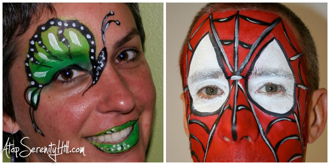 6 popular face painting designs for birthday parties including butterflies and Spiderman • AtopSerenityHill.com #butterfly #spiderman #facepainting #birthdayparties