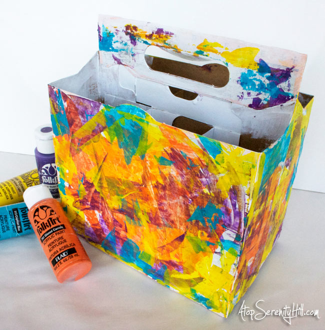 Quick and easy paint altered 6 pack holder to give as a gift! • AtopSerenityHill.com #parties #beverage #beer