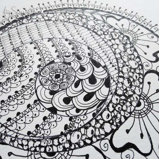 Time in my sketchbook • Visit the blog to see my mandala time lapse video • AtopSerenityHill.com #mixedmedia #artjournaling #doodling #mandala