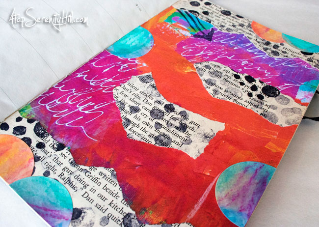 Mixed media art journal page featuring a feather • AtopSerenityHill.com #mixedmedia #artjournaling #documentedlife