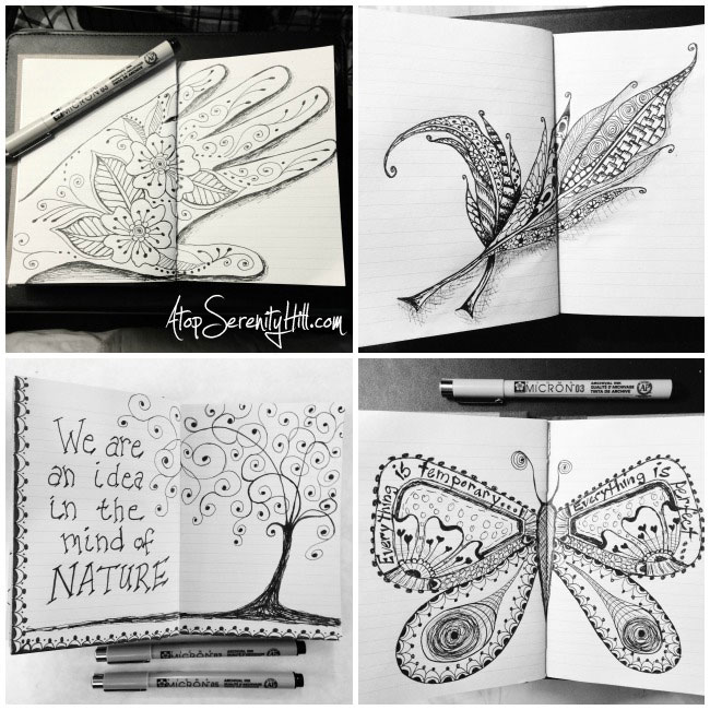 Sketchbook challenge using Micron pens • AtopSerenityHill.com #doodlling #micron #artjournal