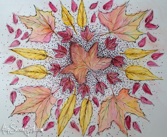 Fall leaves mandala using watercolor and ink • AtopSerenityHill.com #watercolor #fall #mandala