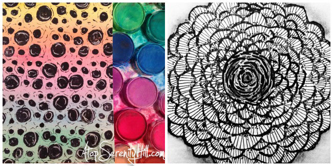 Pattern challenge on Instagram: watercolor; doodling; stamping • AtopSerenityHill.com #doodling #mixedmedia #28patterns