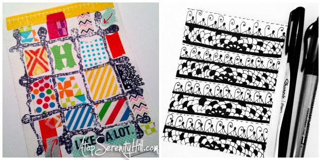 Pattern challenge on Instagram: Washi tape; doodling; stamping • AtopSerenityHill.com #doodling #mixedmedia #28patterns