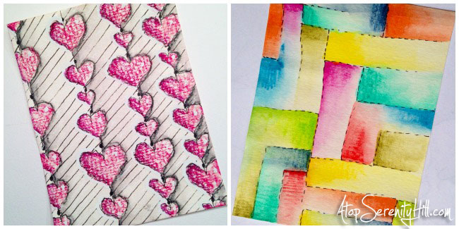 Pattern challenge on Instagram: colored pencils; doodling; watercolor • AtopSerenityHill.com #doodling #mixedmedia #28patterns