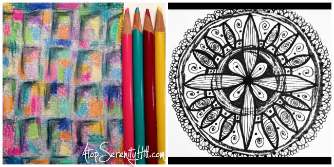 Pattern challenge on Instagram: colored pencils; doodling; stamping • AtopSerenityHill.com #doodling #mixedmedia #28patterns