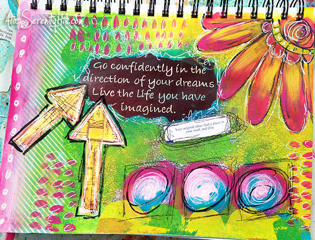 Time in my sketchbook • Visit the blog to see my mixed media art journal time lapse video • AtopSerenityHill.com #mixedmedia #artjournaling #doodling