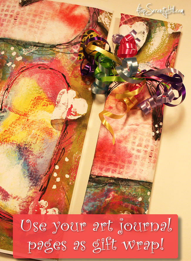 Use your art journal pages as gift wrap for that extra special touch! • AtopSerenityHill.com #artjournal #giftwrap #wrapping paper