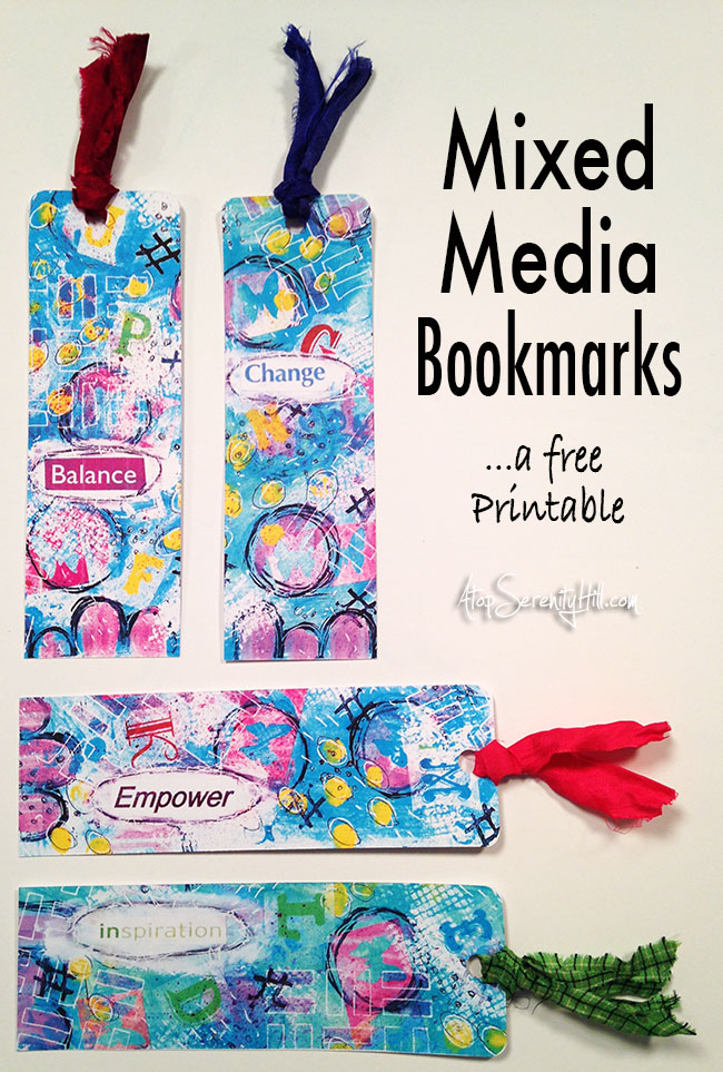 Free printable mixed media bookmarks for all those book lovers! • AtopSerenityHill.com #printable #mixedmedia #bookmarks