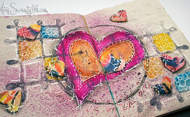 Valentine hearts art journal page • AtopSerenityHill.com #mixedmedia #artjournal #artjournaling
