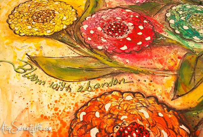 Flower art journal page using fabric spray and watercolor • AtopSerenityHill.com #mixedmedia #artjournal #watercolor