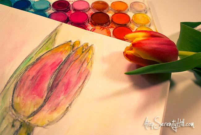 Using fresh tulips as watercolor inspiration • AtopSerenityHill.com #watercolor #spring #mixedmedia