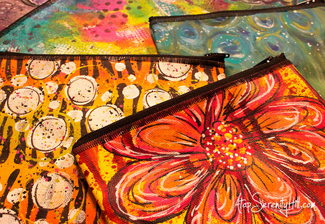 Hand painted canvas zippered pouches • AtopSerenityHill.com #mixedmedia #zipperedpouches #canvasbag