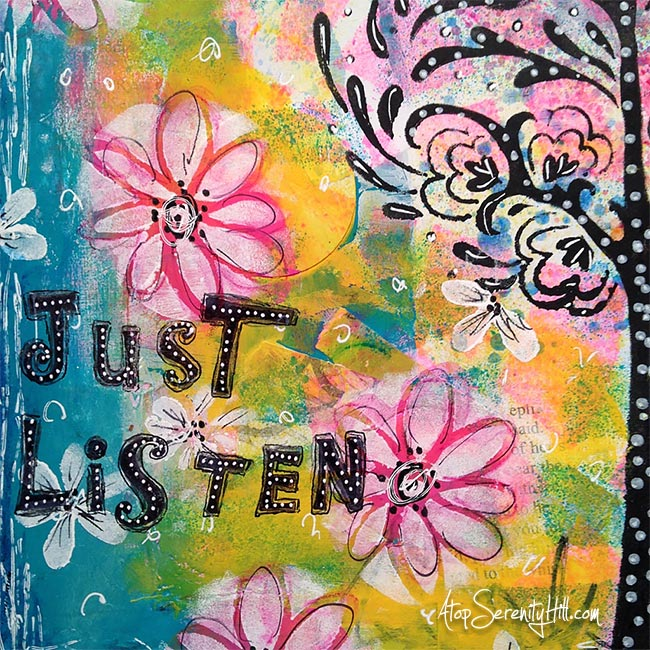 Just listen; an art journal page using The Crafter's Workshop stencils • AtopSerenityHill.com #mixedmedia #artjournal #stencils