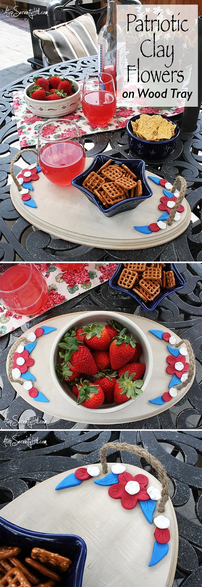 Patriotic wood tray with clay flowers for the 4th of July using a Walnut Hollow pine slab • AtopSerenityHill.com #picnic #woodtray #4thofjuly