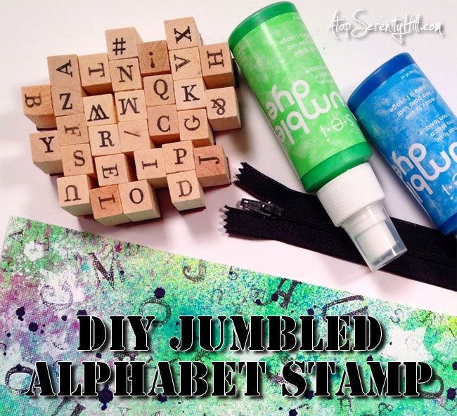 DIY jumbled alphabet stamp; create to use in your art journals, card making and mixed media projects! • AtopSerenityHill.com #alphabetstamp #artjournal #mixedmedia