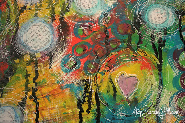 Mixed media canvas by AtopSerenityHill.com #acrylic #mixedmedia #art