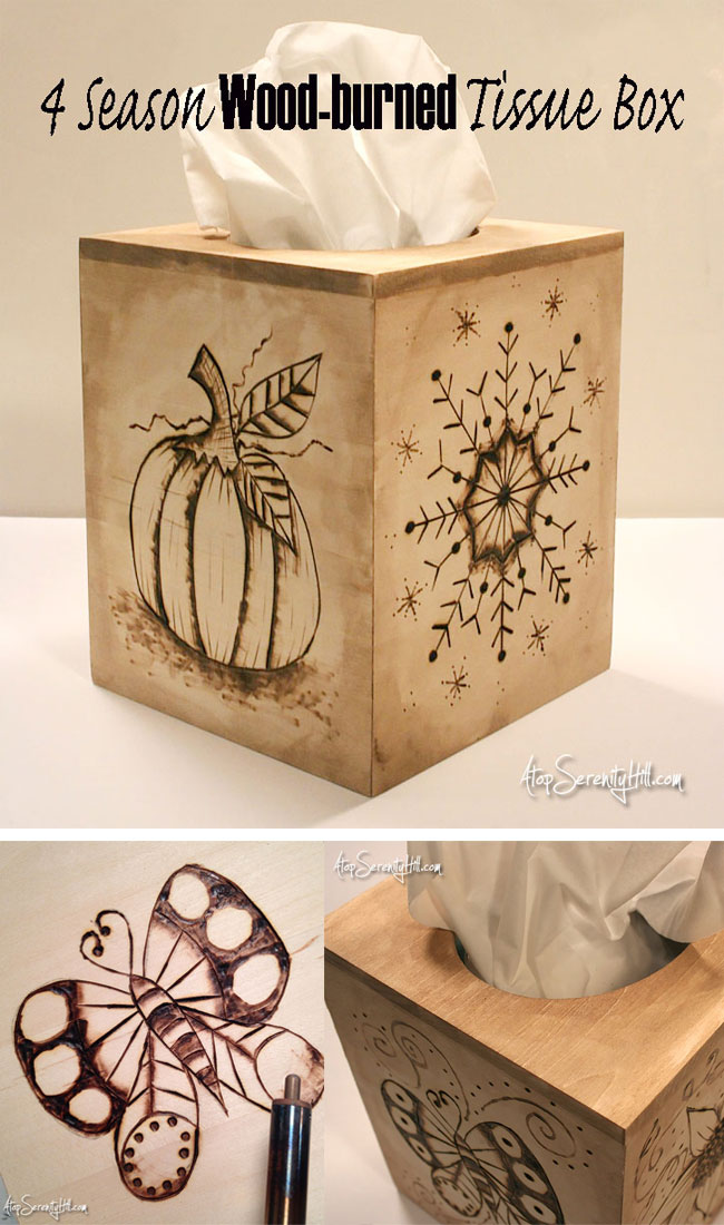 4 season wood burned boutique tissue box from Walnut Hollow. A pretty and functional home decor item that can also be used for seasonal decorating! AtopSerenityHill.com #woodburning #homedecor #holidaydecorating