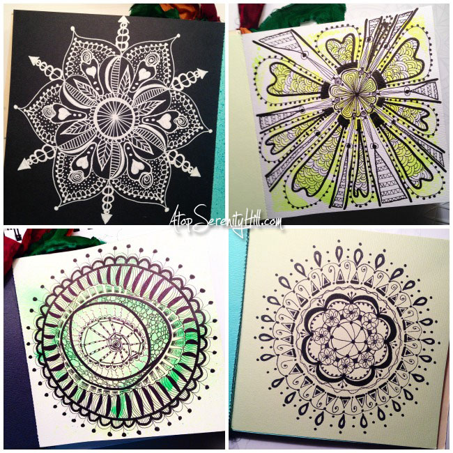 Collection of mandalas drawn for the #InkTober challenge • AtopSerenityHill.com #mandala #artjournal #inktober
