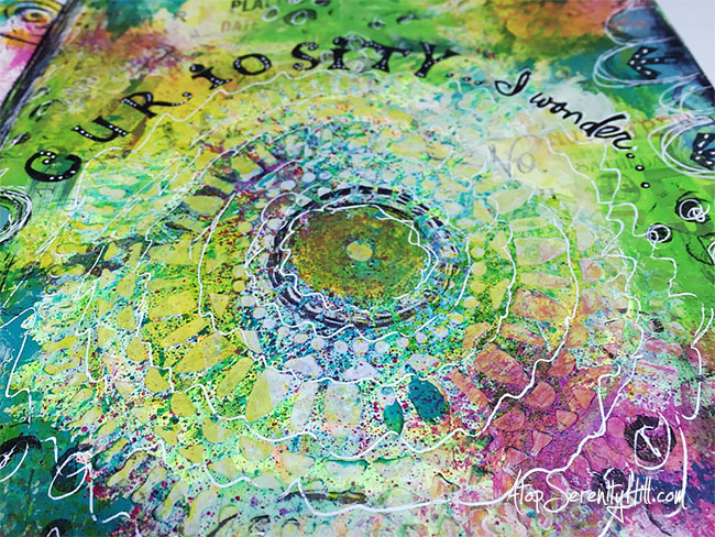 Art journal page for my 2016 One Little Word using stencils from The Crafter's Workshop • AtopSerenityHill.com #artjournaling #onelittleword #mixedmedia