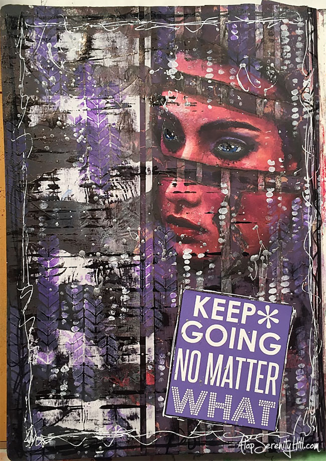 A process video of an art journal page using The Crafter's Workshop stencils and prompts from Mission Inspiration • AtopSerenityHill.com #stencils #mixedmedia #artjournaling