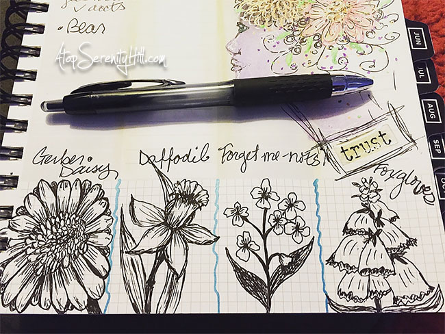 Daily doodling 365 day challenge to myself using the Get To Work Book planner • AtopSerenityHill.com #doodling #sketching #planner