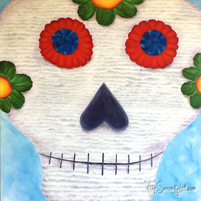 Sugar Skull pinata painting in acrylic • AtopSerenityHill.com