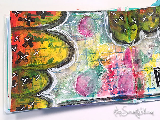 Art journal page from a daily art challenge • AtopSerenityHill.com